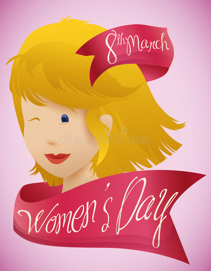 Beauty Woman Face with Pink Ribbons around for Women's Day, Vector Illustration royalty free stock photos