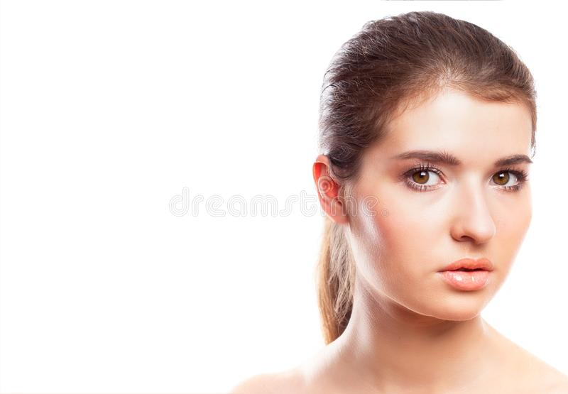 Beauty woman face portrait. Youth and skin care concept. Isolated over white stock photography
