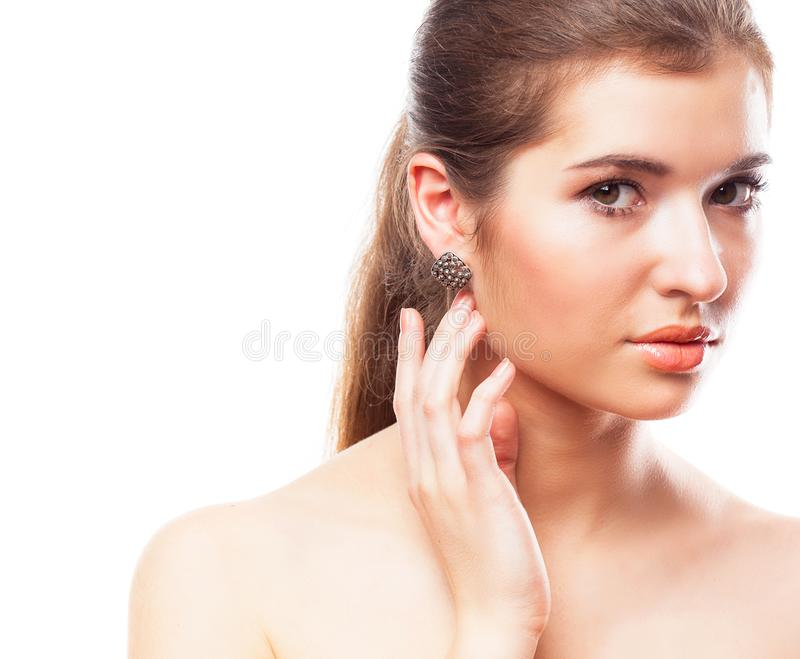 Beauty woman face portrait. Youth and skin care concept. Isolated over white royalty free stock images