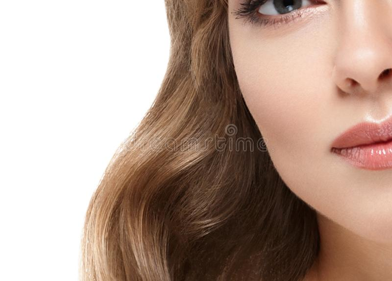Beauty Woman face Portrait. Beautiful Spa model Girl with Perfect Fresh Clean Skin royalty free stock photography