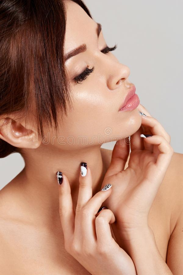 Beauty Woman face Portrait. Beautiful Spa model Girl with Perfect Fresh Clean Skin. royalty free stock images