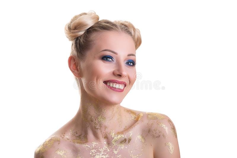 Beauty Woman face Portrait. Beautiful Spa model Girl with Perfect Fresh Clean Skin. Blonde female looking at camera and smiling. royalty free stock images