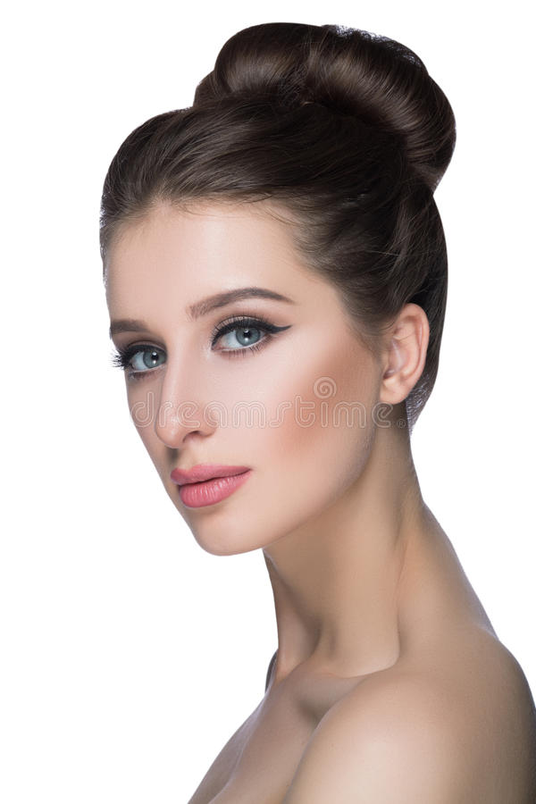 Beauty Woman face Portrait. Beautiful Spa model Girl with Perfect Fresh Clean Skin. fashion Brunette female looking at royalty free stock image