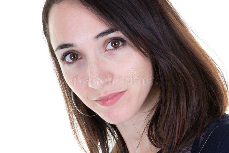 Beauty woman face portrait closeup caucasian attractive brunette royalty free stock image