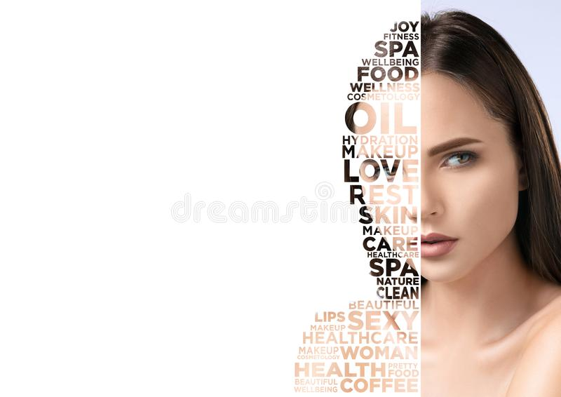 Beauty woman face portrait with perfect skin stock illustration