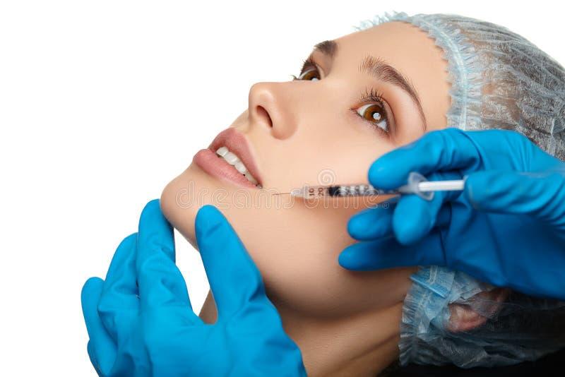 Beauty Woman face surgery close up portrait. Female model stock photos