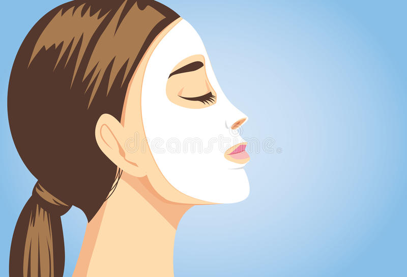 Beauty woman facial sheet mask side view vector illustration