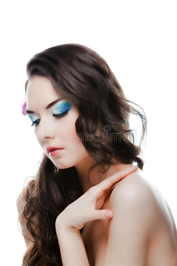 Beauty woman with flower stock photos