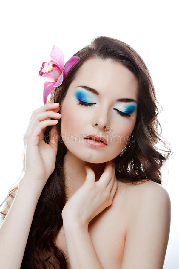 Beauty woman with flower stock image