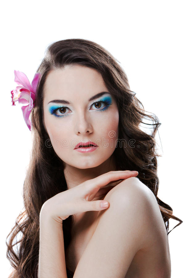 Beauty woman with flower royalty free stock image