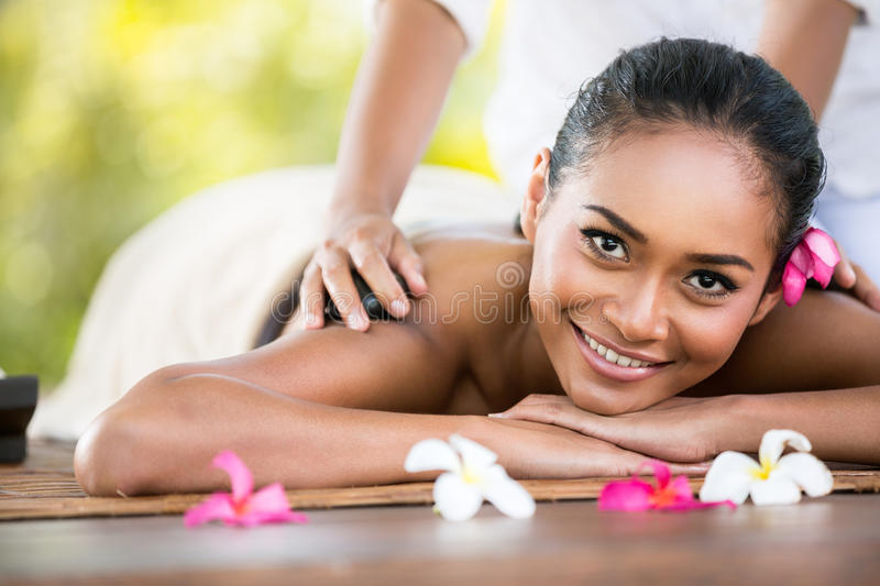 Beauty Woman Getting Relaxation In Spa Salon Stock Image