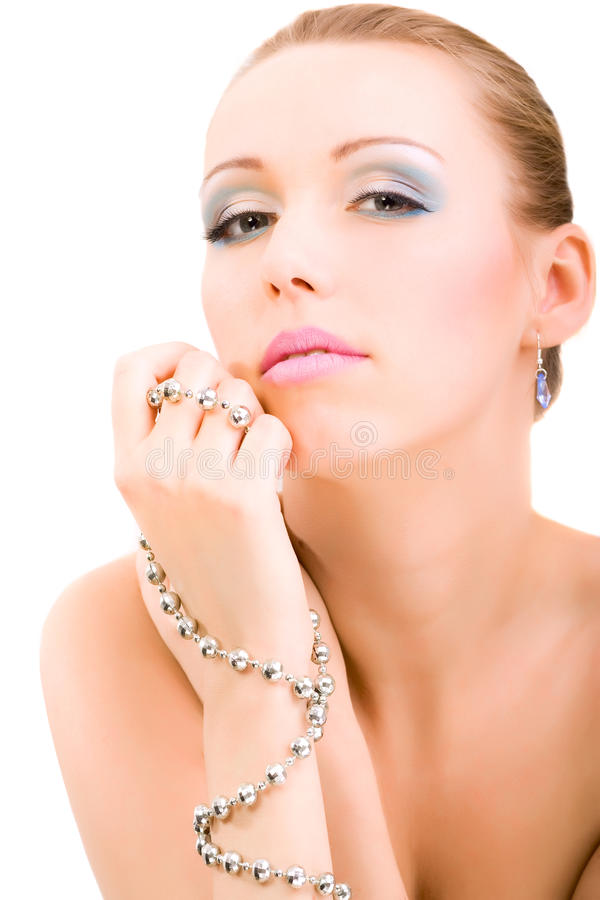 Beauty woman glamour portrait makeup isolated stock photos