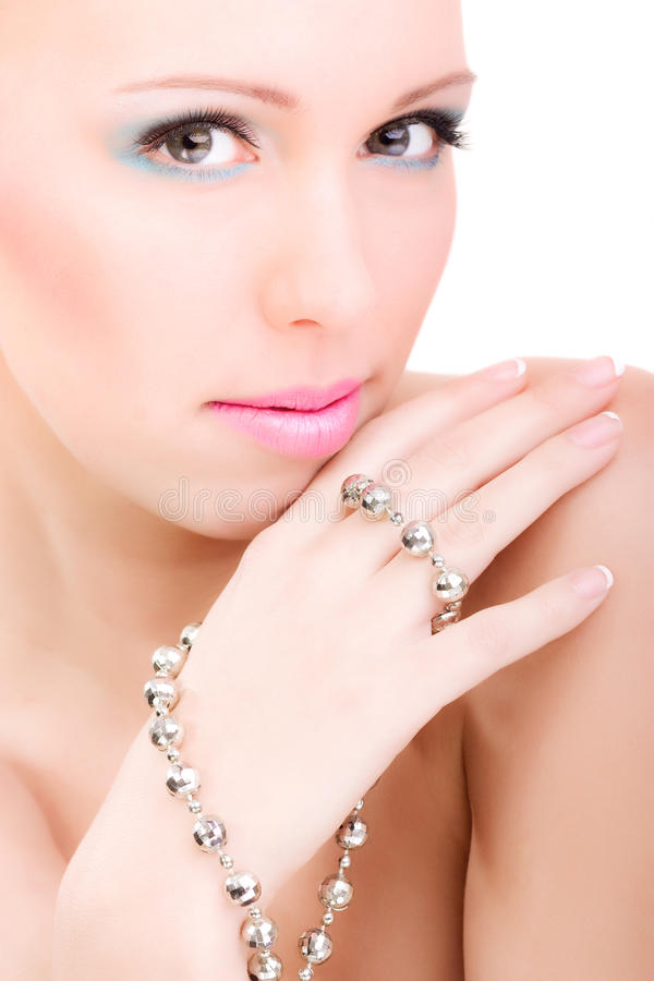 Beauty woman, glamour portrait makeup presentation stock images