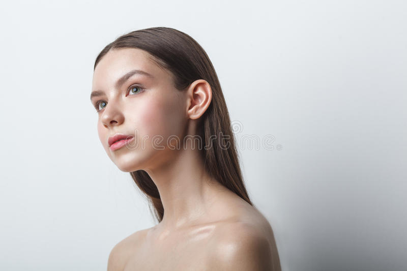 Beauty woman head and shoulders portrait, clear shiny skin stock photos