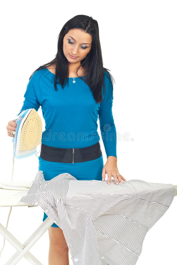 Beauty woman ironing royalty free stock image