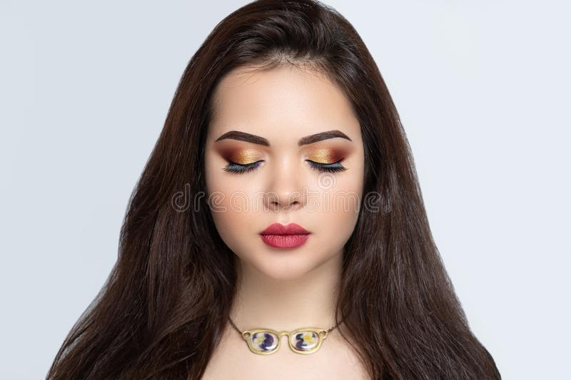 Beauty woman lash extensions stock photography