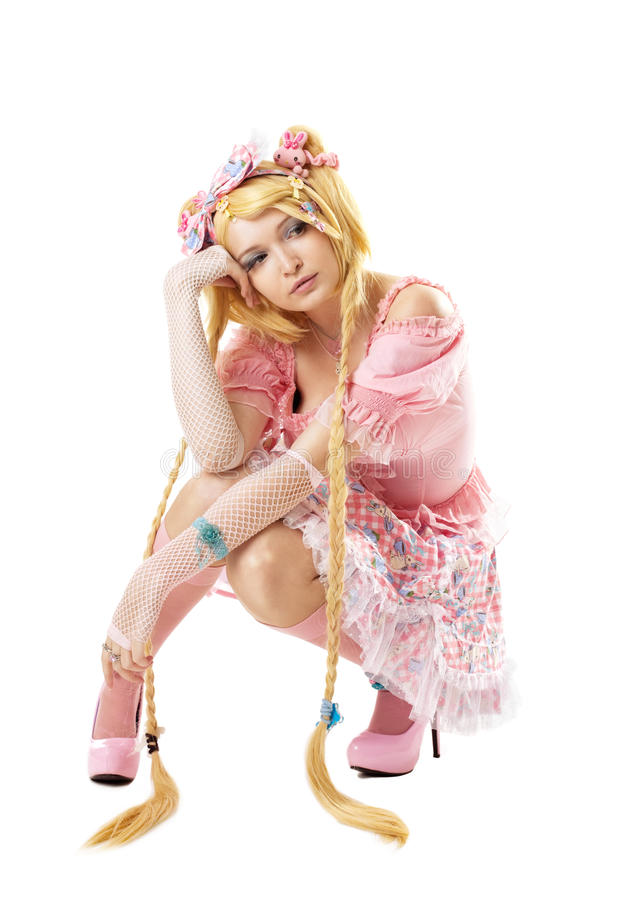 Beauty woman like lolita cosplay character. Beauty attractive girl like lolita cosplay character isolated stock photography