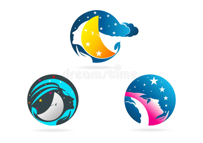 Beauty woman logo, moon female concept design royalty free stock photos