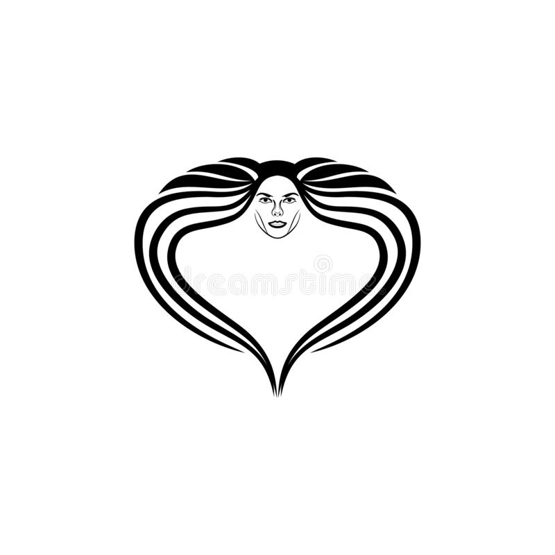 Beauty woman with long hair logo Ideas. Inspiration logo design. Template Vector Illustration. Isolated On White Background vector illustration