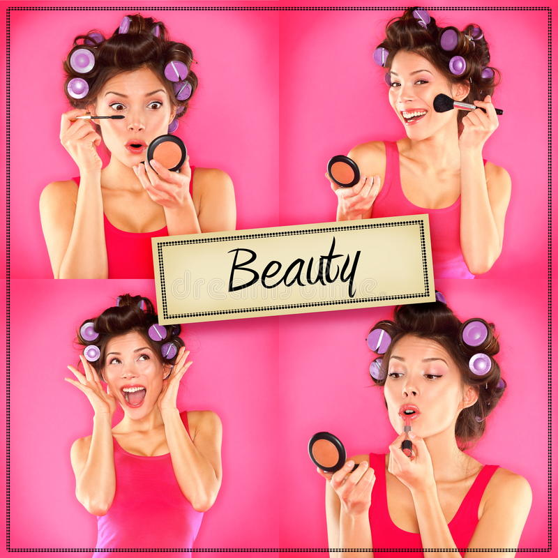 Beauty woman makeup concept collage series on pink. Woman applying make up, lipstick, mascara and blush getting ready to go out. Beautiful multiracial Asian
