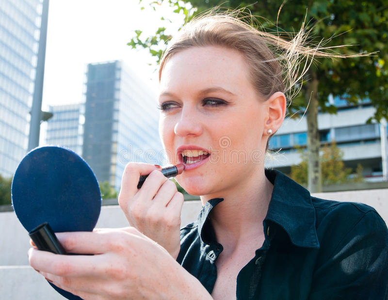 Beauty Woman With Mirror Stock Image