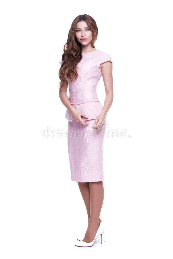 Beauty woman model wear stylish design clothing pink dress. Beauty woman model wear stylish design trend clothing pink dress casual formal office style for work stock images