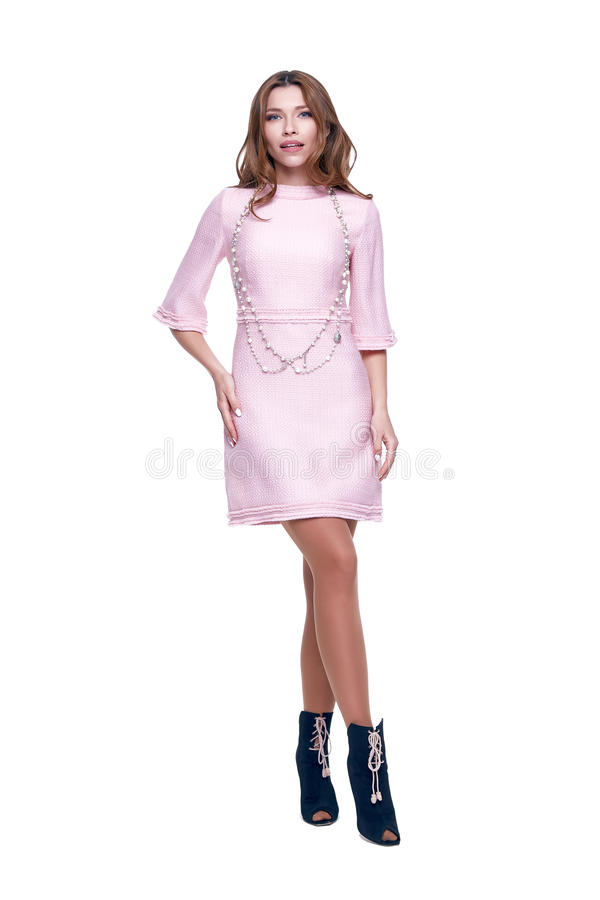 Beauty woman model wear stylish design clothing pink dress. Beauty woman model wear stylish design trend clothing pink dress casual formal office style for work stock image
