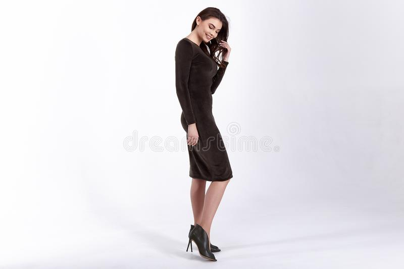 Beauty woman model wear stylish design trend clothing natural organic wool cotton dress casual formal office style for work stock photos