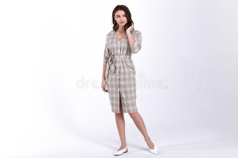 Beauty woman model wear stylish design trend clothing natural organic wool cotton dress casual formal office style for work stock photo