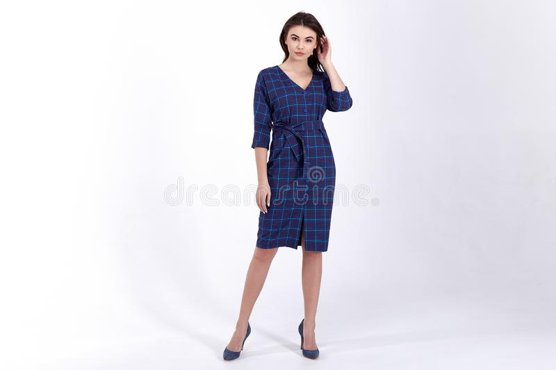 Beauty woman model wear stylish design trend clothing natural organic wool cotton dress casual formal office style for work royalty free stock photos