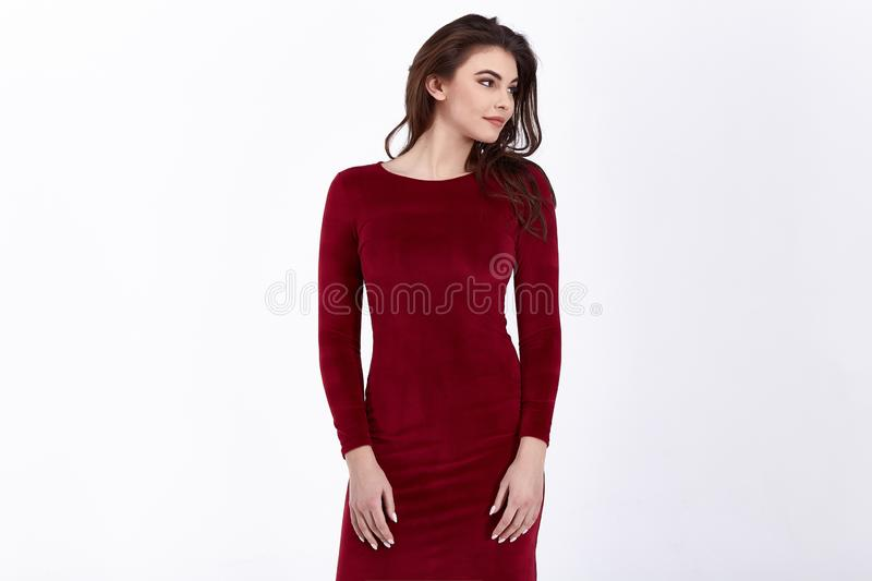 Beauty woman model wear stylish design trend clothing natural organic wool cotton dress casual formal office style for work royalty free stock photography