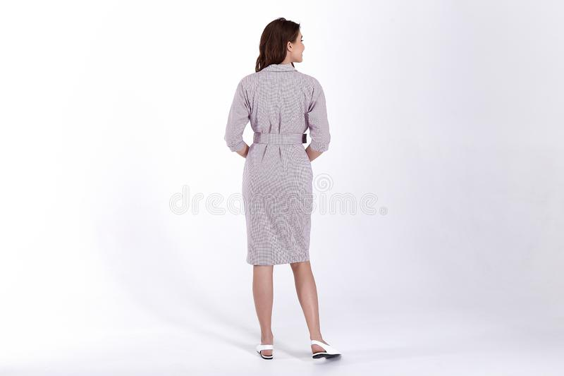 Beauty woman model wear stylish design trend clothing natural organic wool cotton dress casual formal office style for work stock image