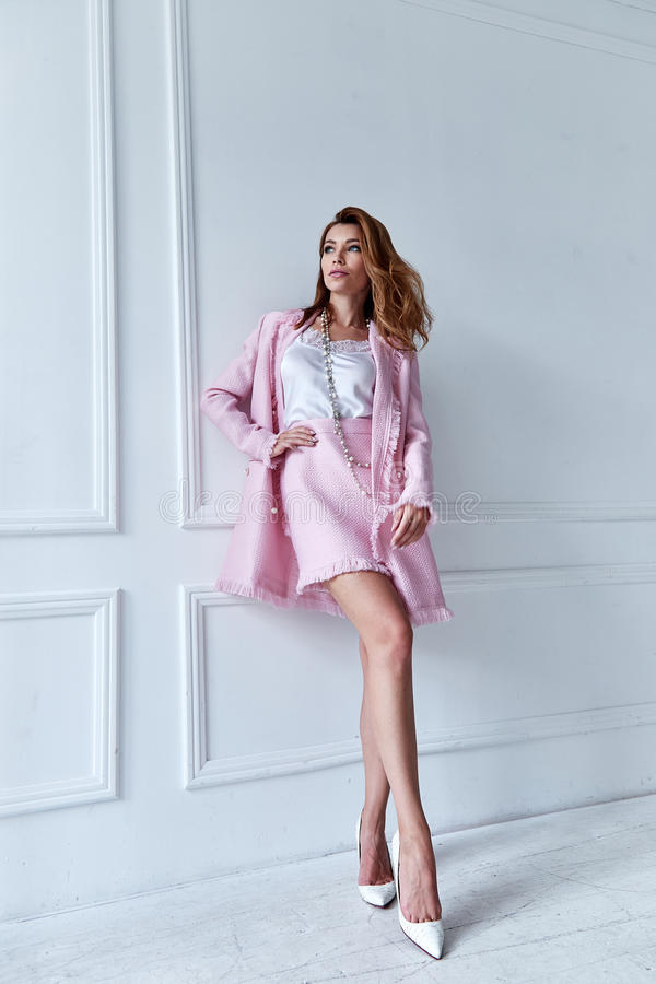 Beauty woman model wear stylish design trend clothing silk pink stock image