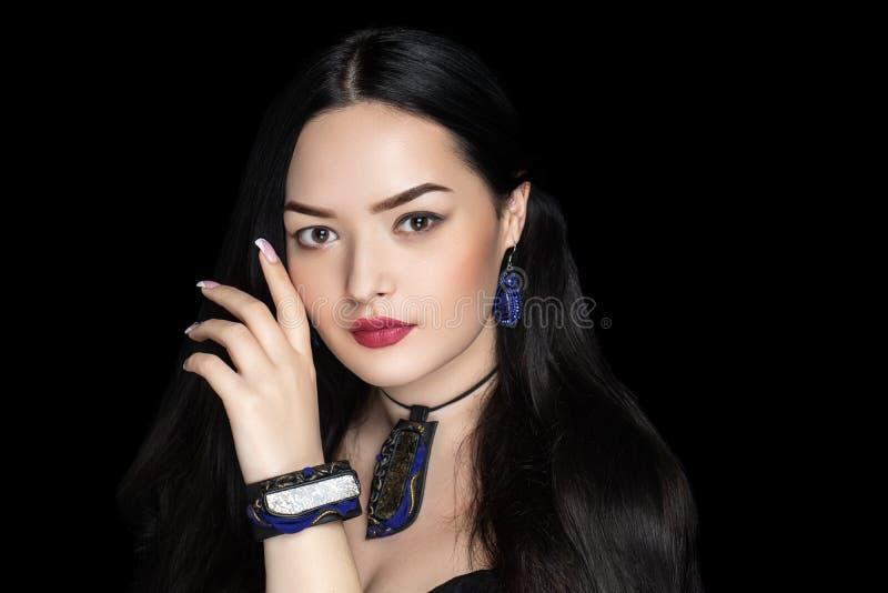Beauty woman new red matte lipstick royalty free stock image