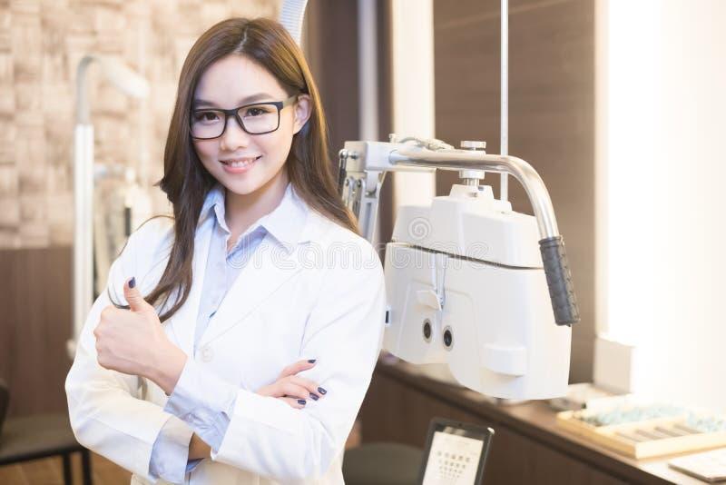 Beauty woman optometrist royalty free stock photo