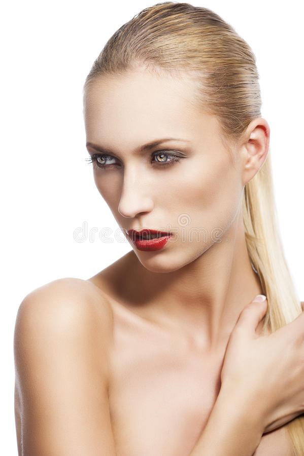 Download Beauty Woman Over White, She Looks Down At Right Royalty Free Stock Images - Image: 23501149