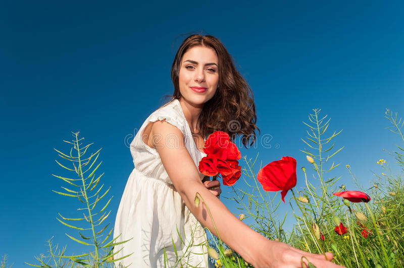 Download Beauty Woman In Poppy Field In White Dress Holding A Poppies Bouquet Stock Image - Image: 40924511