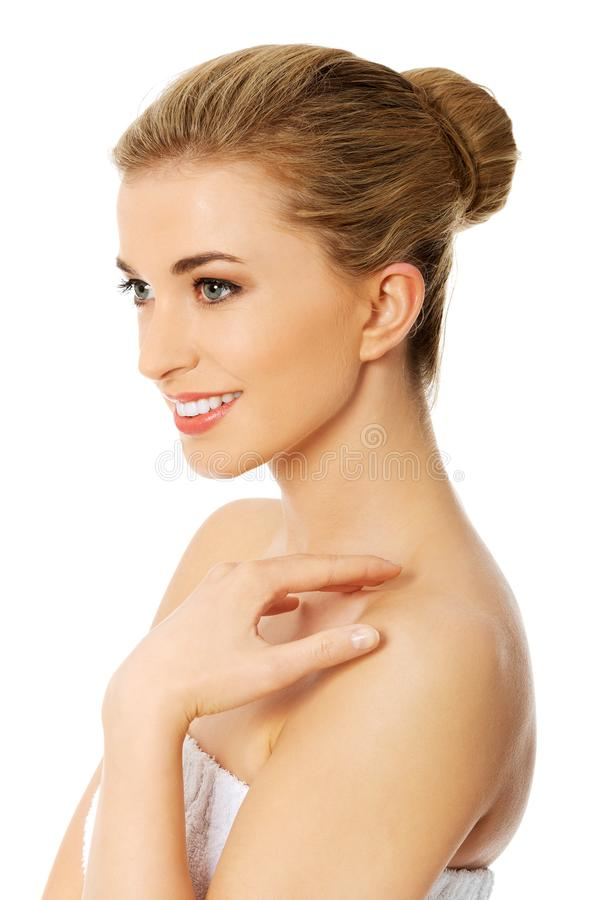 Beauty woman portrait. Beautiful model girl with perfect fresh clean skin. Body care concept stock photo