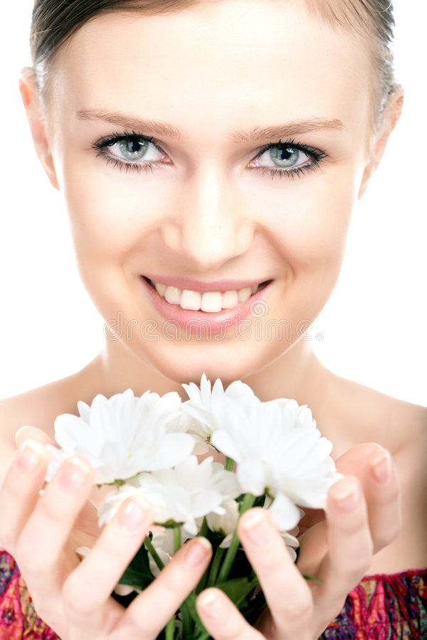 Beauty woman portrait with camomile flower. On white background royalty free stock images