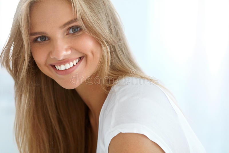 Beauty Woman Portrait. Girl With Beautiful Face Smiling. Beauty Woman Portrait. Closeup Of Beautiful Happy Girl With Perfect Smile, White Teeth Smiling At Camera stock photography