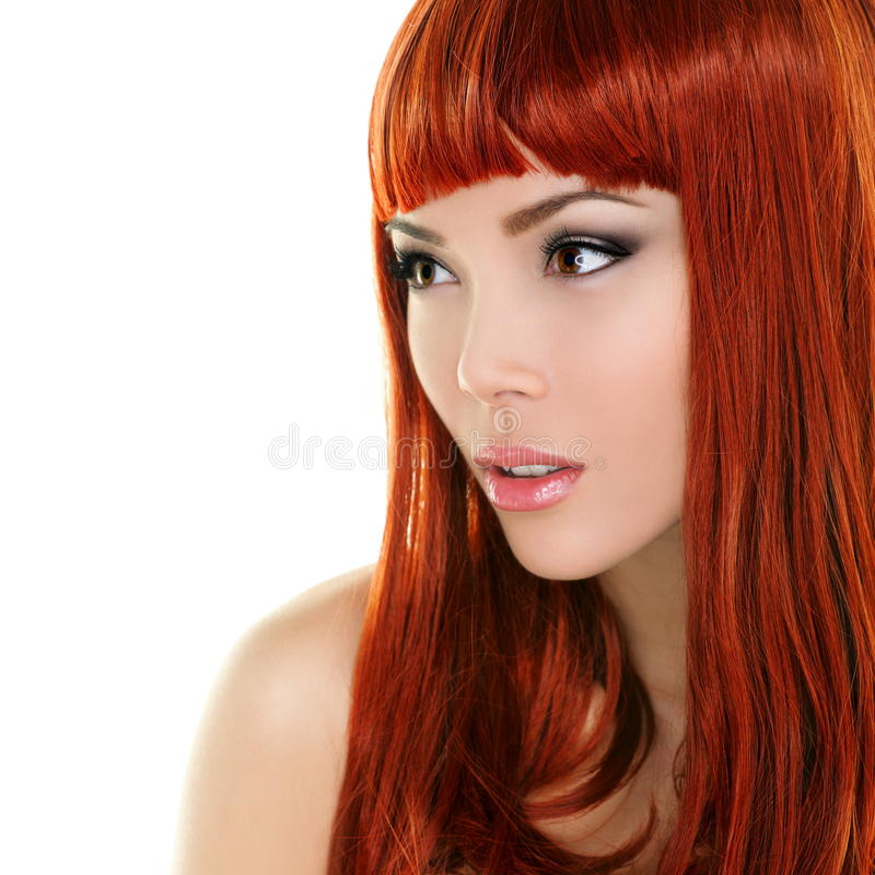 Beauty woman portrait with red hair stock photo