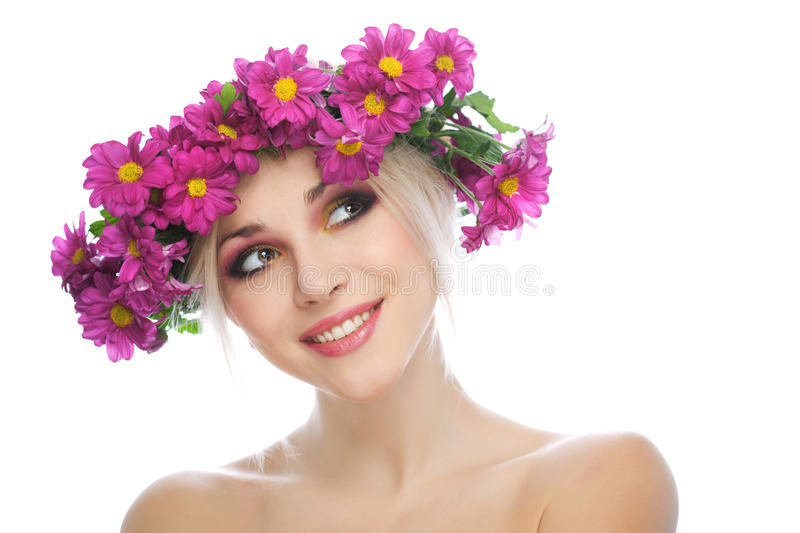 Download Beauty Woman Portrait With Wreath From Flowers Stock Images - Image: 18546274