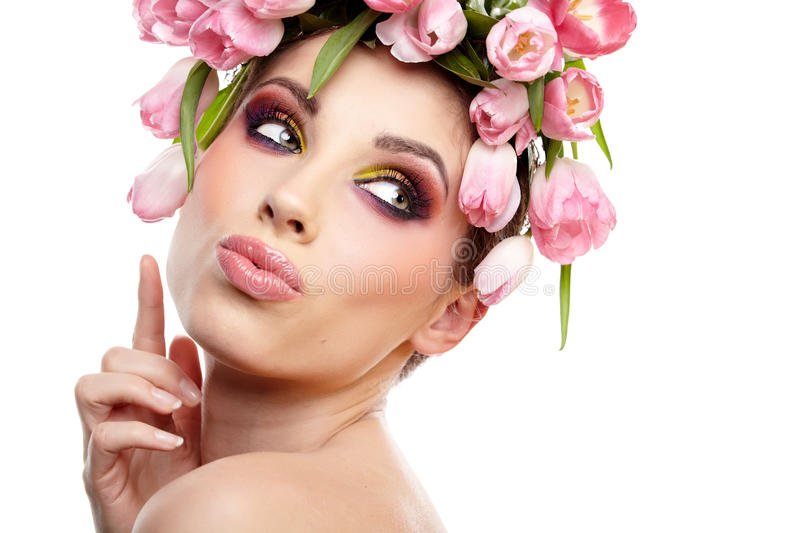 Download Beauty Woman Portrait With Wreath From Flowers On Head Over Whit Stock Photo - Image: 30353410