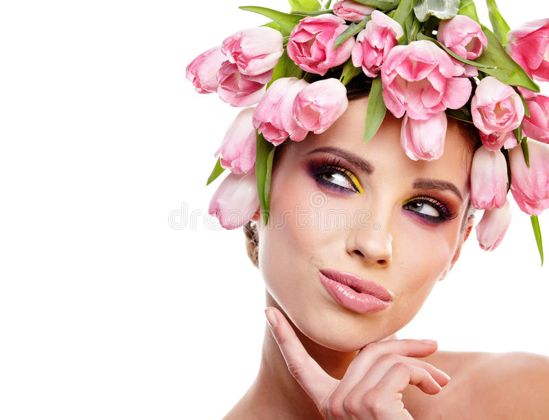 Download Beauty Woman Portrait With Wreath From Flowers On Head Over Whit Stock Image - Image: 30353453