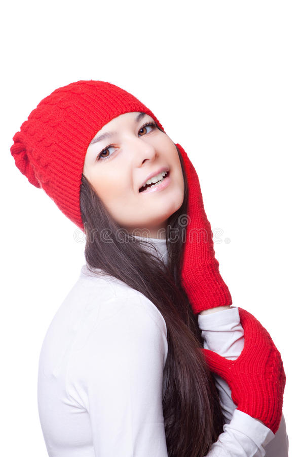 Beauty woman in a red cap royalty free stock image