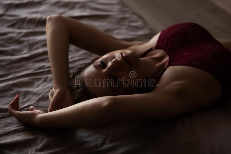 Beauty woman in red lingerie. royalty free stock photos
