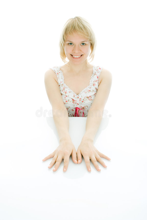 Beauty woman sit on the table stock photo