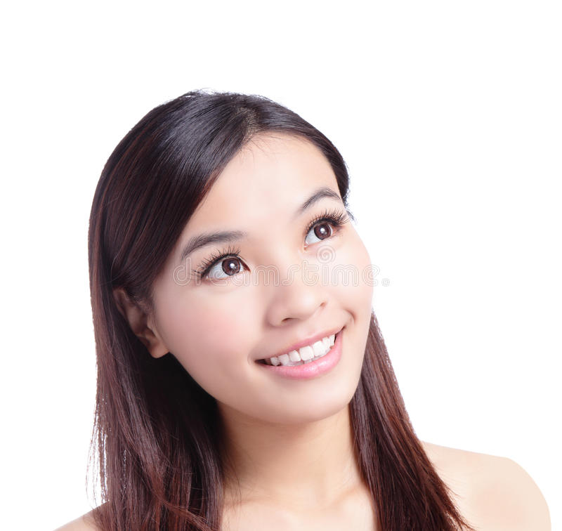 Download Beauty Woman Smiling Looking At Copy Space Stock Image - Image: 23294205