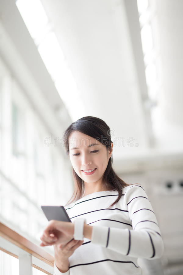 Beauty woman take smartphone royalty free stock photography