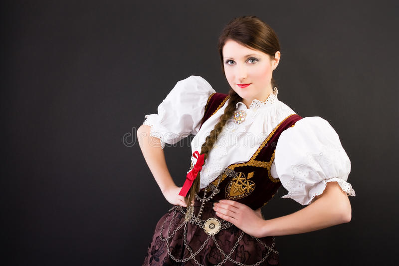 Beauty woman in traditional Polish clothes Silesia royalty free stock photo